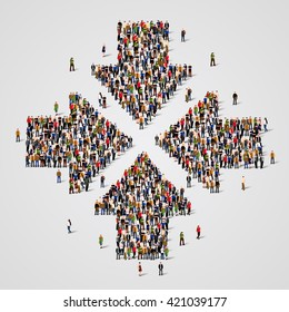 Large group of people in the form of convergent arrows. Vector illustration.