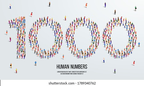 large group of people form to create number 1000 or one thousand. people font or number. vector illustration of number 1000.