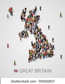Large group of people in form of Great Britain map with infographics elements. United kingdom map. Background for presentation. Vector illustration