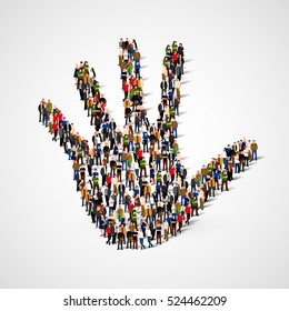 Large group of people in form of  hand icon. Care, friendship, support or family concept. Vector illustration