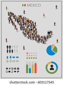 Large group of people in form of Mexico map with infographics elements with chart, statistic and visualization templates. Background for presentation. Vector illustration
