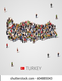 Large group of people in form of Turkey map. Background for presentation. Vector illustration