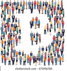 Large group of people forming the bitcoin sign. Vector illustration