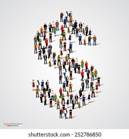 Large group of people forming the dollar sign. Vector