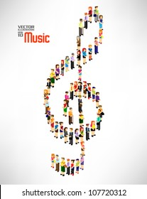 a large group of people forming into music note together vector design