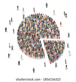 Large group of people forming pie chart standing together, flat vector illustration. People crowd gathering. Statistics, population demographics.