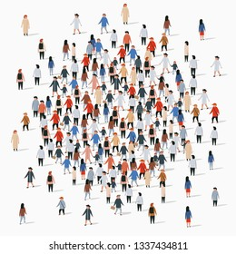 Large group of people gather in a circle. Vector illustration