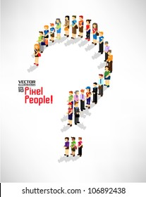 a large group of people gather together forming a question mark vector icon design