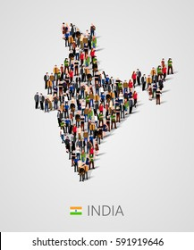 Large group of people in India map form. Population of India or demographics template. Background for presentation. Vector illustration