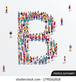 Large group of people in letter B form. Human alphabet. Vector seamless background