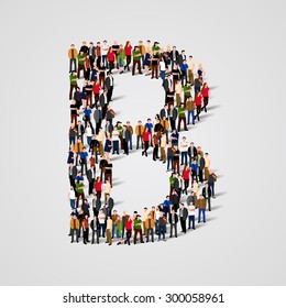 Large group of people in letter B form. People font. Clean vector font. Vector seamless background