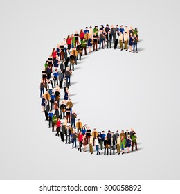 Large group of people in letter C form. People font. Clean vector font. Vector seamless background
