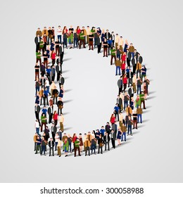 Large group of people in letter D form. People font. Clean vector font. Vector seamless background