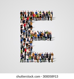 Large group of people in letter E form. People font. Clean vector font. Vector seamless background