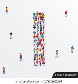 Large group of people in letter I form. Human alphabet. Vector seamless background