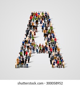 Large group of people in letter A form. People font. Clean vector font. Vector seamless background