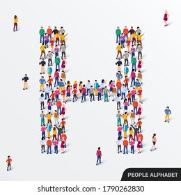 Large group of people in letter H form. Human alphabet. Vector seamless background