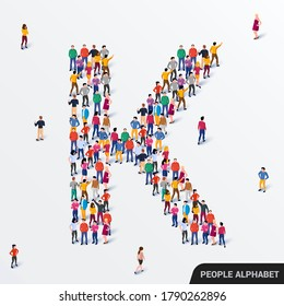 Large group of people in letter K form. Human alphabet. Vector seamless background