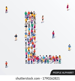 Large group of people in letter L form. Human alphabet. Vector seamless background