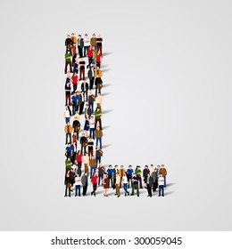 Large group of people in letter L form. People font. Clean vector font. Vector seamless background