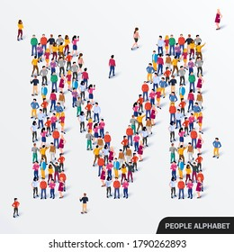 Large group of people in letter M form. Human alphabet. Vector seamless background