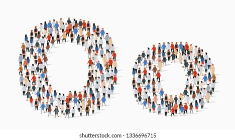 Large group of people in letter O form. Vector seamless background