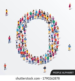 Large group of people in letter O form. Human alphabet. Vector seamless background