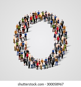 Large group of people in letter O form. People font. Clean vector font. Vector seamless background