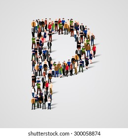 Large group of people in letter P form. People font. Clean vector font. Vector seamless background