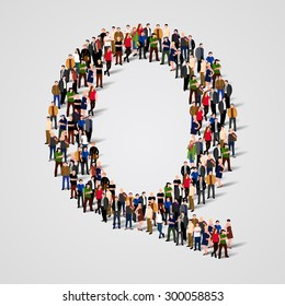 Large group of people in letter Q form. People font. Clean vector font. Vector seamless background