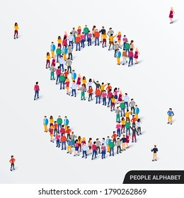 Large group of people in letter S form. Human alphabet. Vector seamless background