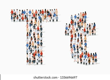 Large group of people in letter T form. Vector seamless background