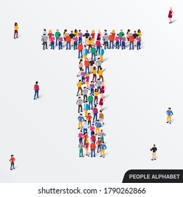 Large group of people in letter T form. Human alphabet. Vector seamless background