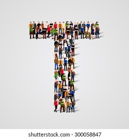 Large group of people in letter T form. People font. Clean vector font. Vector seamless background