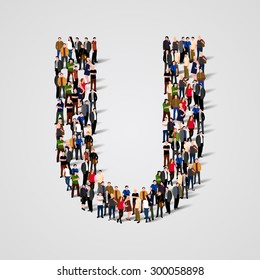 Large group of people in letter U form. People font. Clean vector font. Vector seamless background