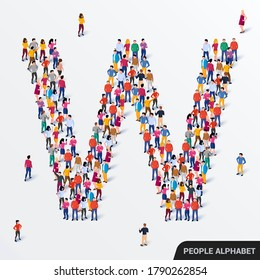 Large group of people in letter W form. Human alphabet. Vector seamless background