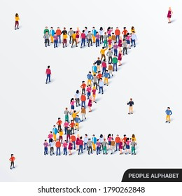 Large group of people in letter Z form. Human alphabet. Vector seamless background