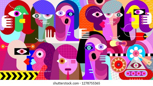 Large group of people modern abstract art vector illustration.