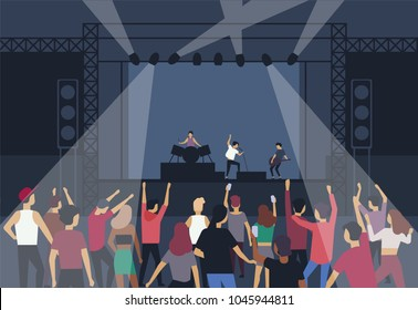 Large group of people or music fans dancing in front of stage with performing musical band, back view. Musicians, singers and audience at summer open air festival. Flat cartoon vector illustration.