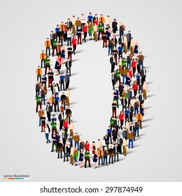 Large group of people in number 0 zero form. People font. Vector illustration