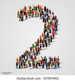 Large group of people in number 2 two form. People font. Vector illustration