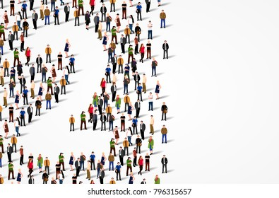 Large group of people in number 2 two form. Vector background