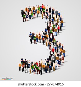 Large group of people in number 3 three form. People font. Vector illustration