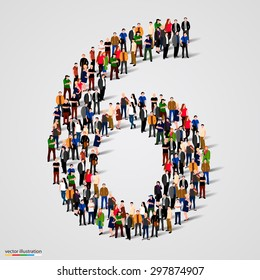 Large group of people in number 6 six form. People font. Vector illustration