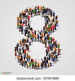 Large group of people in number 8 eight form. People font. Vector illustration