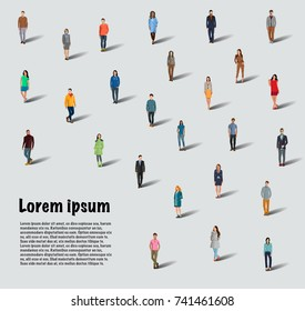 Large group of people on white background. A group of people. Flat style. Flat design. Vector illustration Eps10 file
