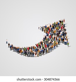 Large group of people in the shape of an arrow. Vector