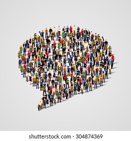 Large group of people in the shape of chat bubble. Vector illustration