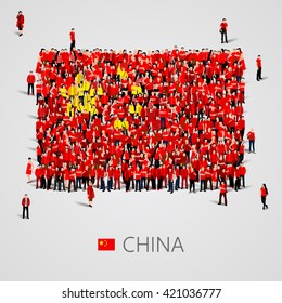 Large group of people in the shape of China flag. People's Republic of China. Population concept. Vector illustration