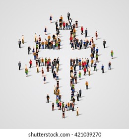 Large group of people in the shape of christian cross. Christian sign. Catholic background.  Religious symbol. Vector illustration